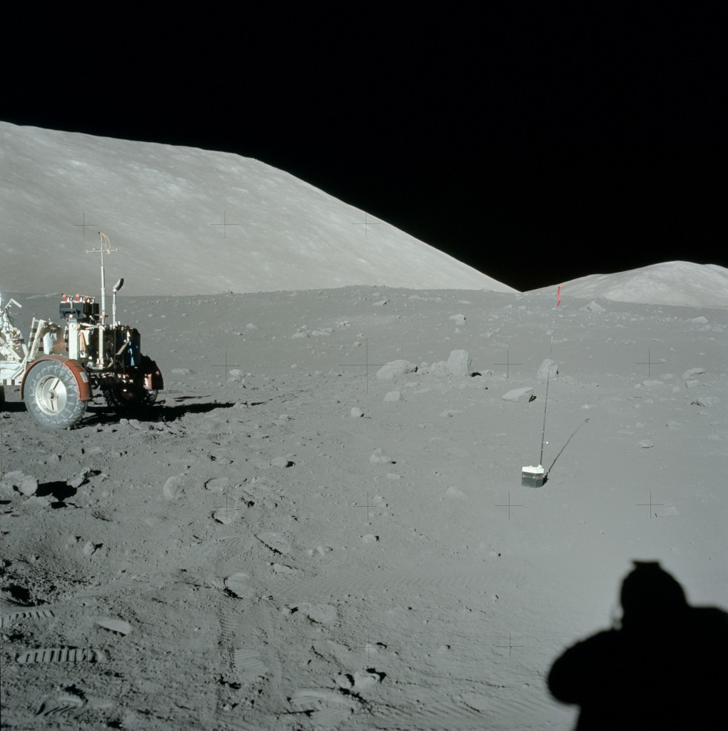 Astronauts setting out the explosive charges for the Apollo 17 lunar seismic profiling experiment in late 1972. NASA