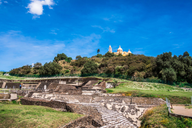 Scenic view of the Great Pyramid of Cholula in Mexico - shutterstock