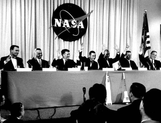 Mercury 7 astronauts, April 9, 1959 press conference - NASA