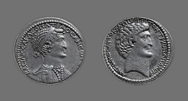 cleopatra and mark antony coin eastern Mediterranean - public domain