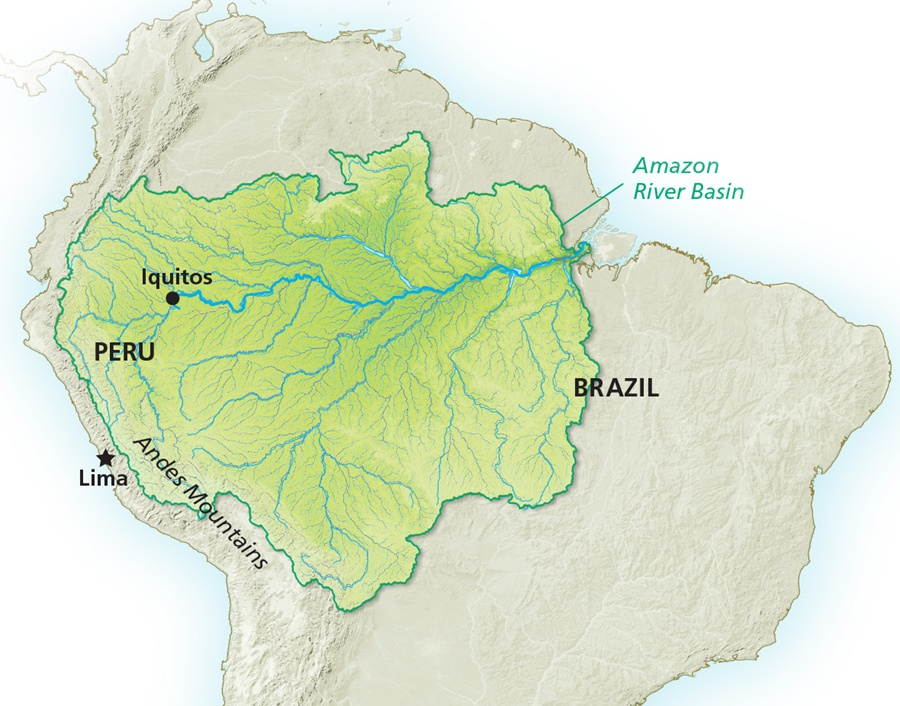 Amazon River Map - Discover/Shutterstock
