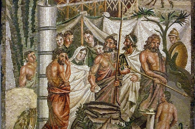 The Sacrifice of Iphigeneia, a mythological depiction of a sacrificial procession on a mosaic from Roman Spain. (Credit: Wikimedia Commons)