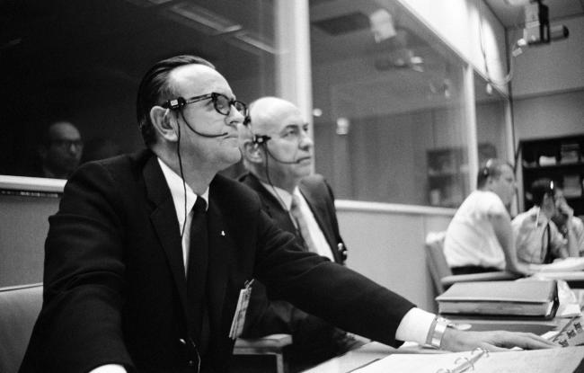 The real Chris Kraft (left) and Bob Gilruth in NASA's Mission Control Center during the Apollo 5 test flight in 1968. (Credit: NASA)