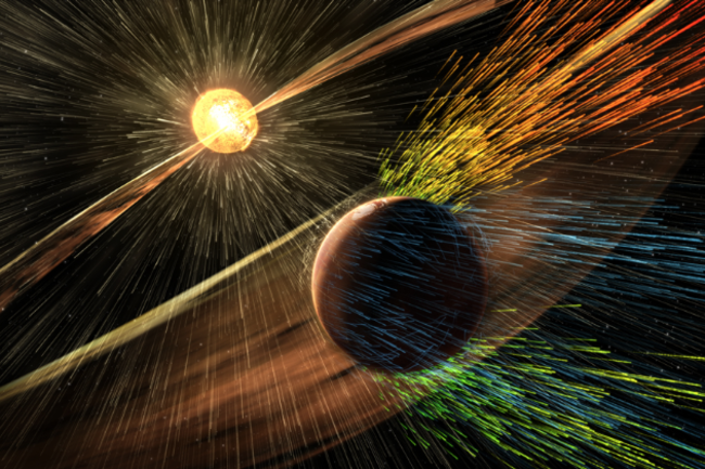 An artist's rendering of Mars getting bombarded by a solar storm. (Credit: NASA:GSFC)