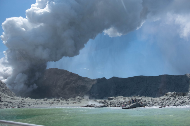 Tourists Evacuating White Island