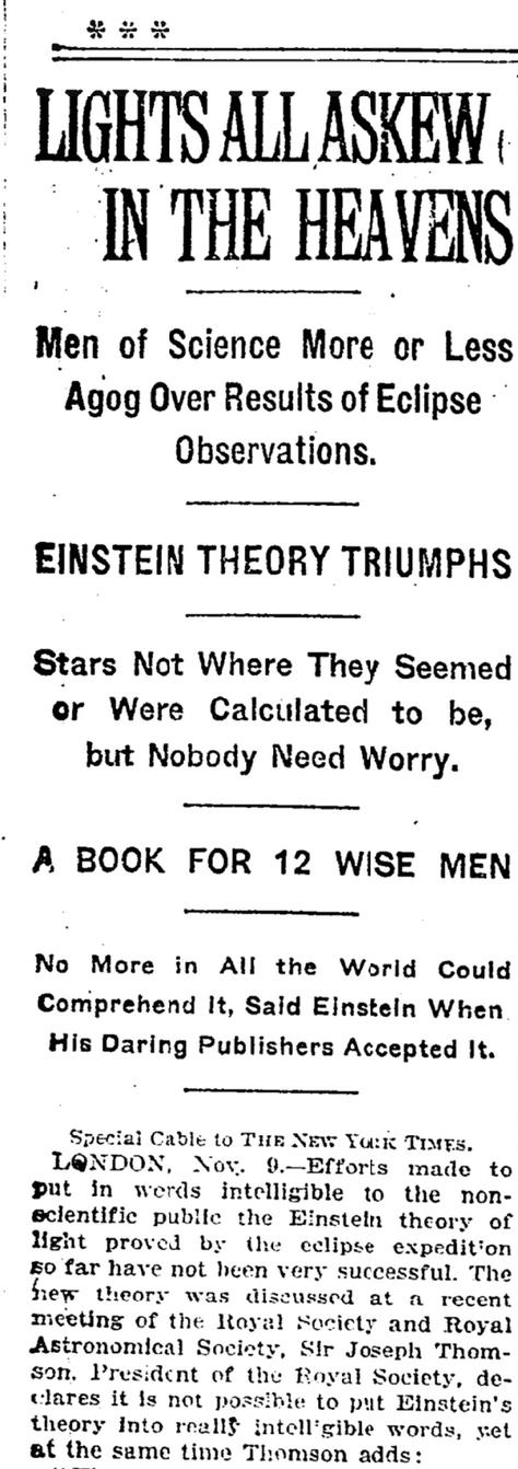 Einstein in New York Times 1919