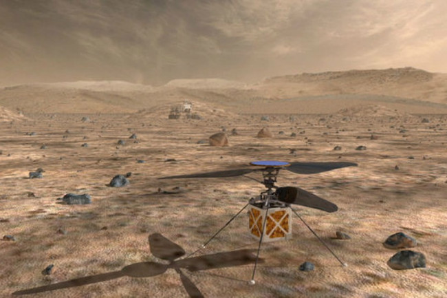 illustration of a tiny helicopter on Mars