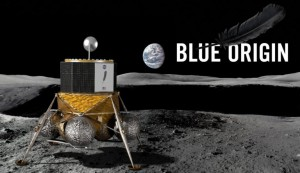 This artist's visualization shows Blue Origin's Blue Moon lander on the moon's surface.