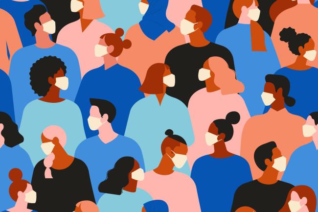 Population pandemic illustration coronavirus masks - Shutterstock