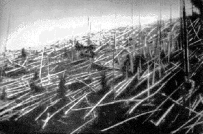 Fallen trees at Tunguska in 1927 - Wikimedia