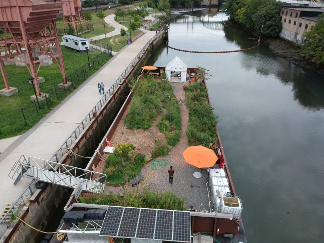 Swale floating forest at Concrete Plant Park in the Bronx
