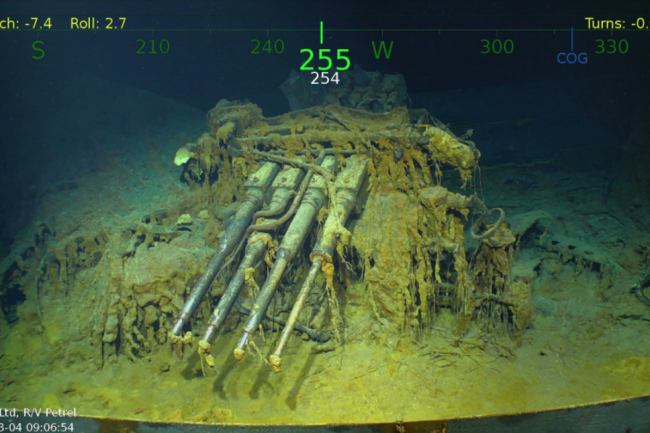 An antiaircraft gun from the wreckage of the USS Lexingon, a U.S. Navy carrier that was sunk during the Battle of Coral Sea in World War II. Credit: Navigea Ltd.