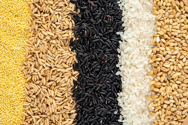 A variety of whole grains - shutterstock 1675823335