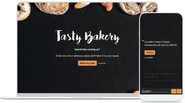 cake order form on device