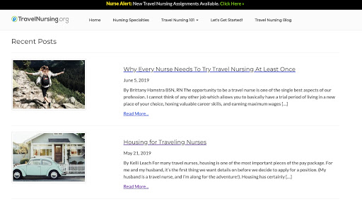 Travel Nursing Blog Homepage