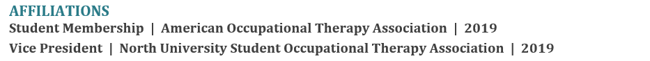 occupational therapy resume example - how to properly format the Affiliations section