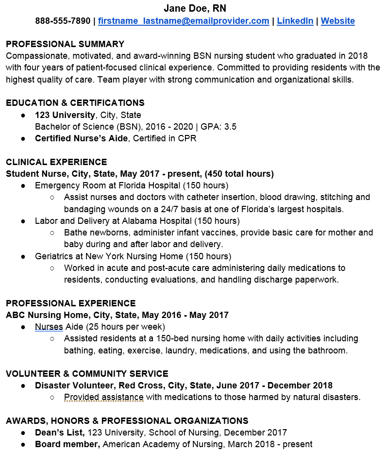 example of a nursing student resume