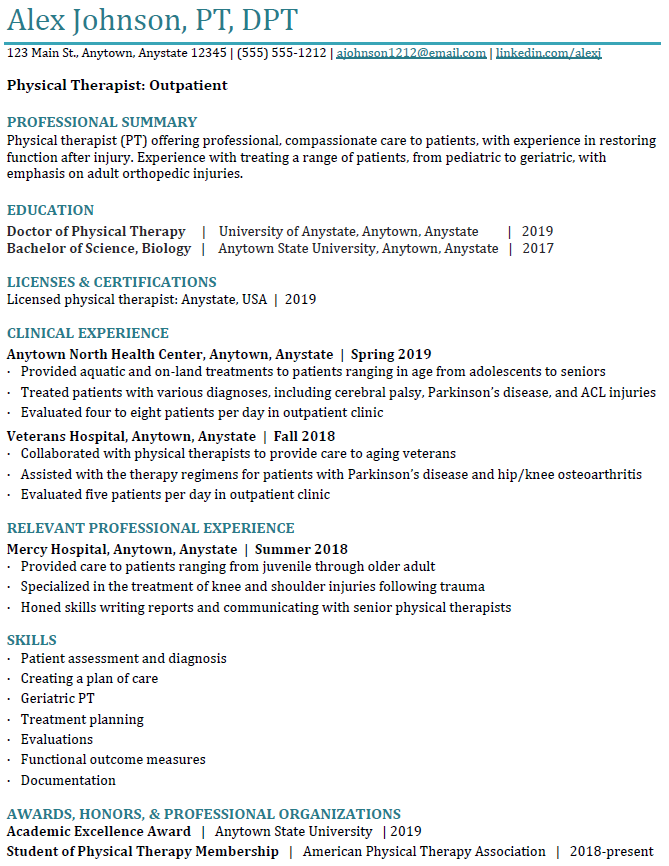 physical therapy resume example - final product