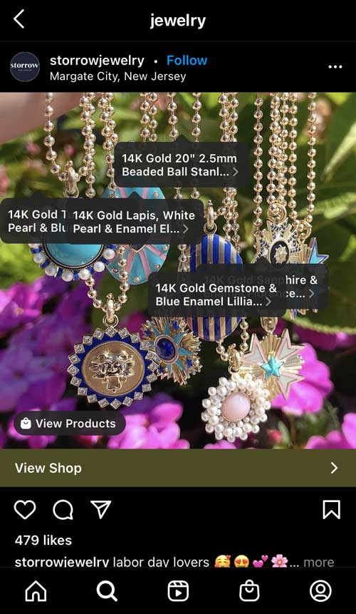 Storrow Jewelry Social Shopping on Instagram