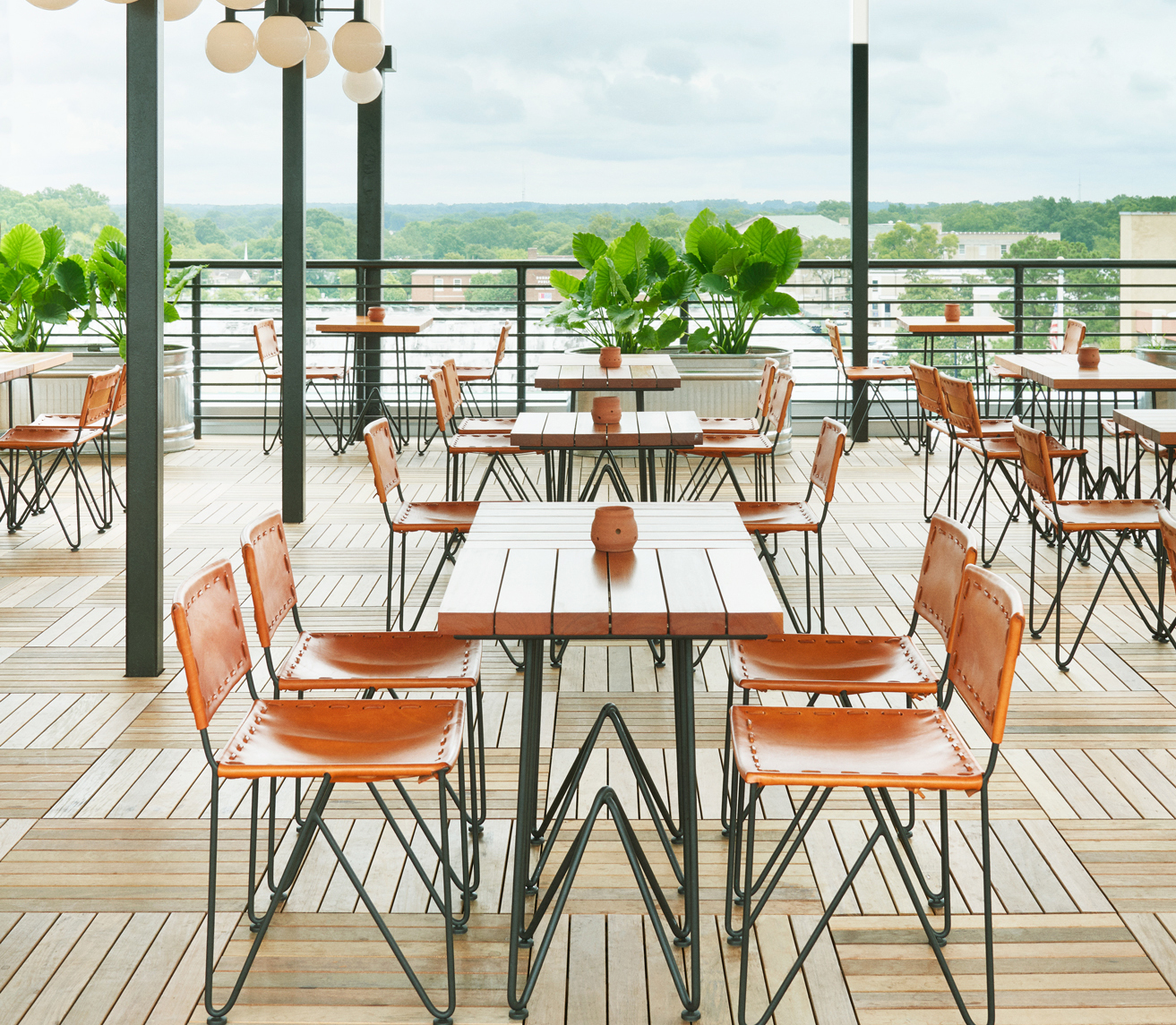 This is the Durham Hotel's Roof Top Bar. There are great views of downtown Durham and amazing cocktails and snacks.