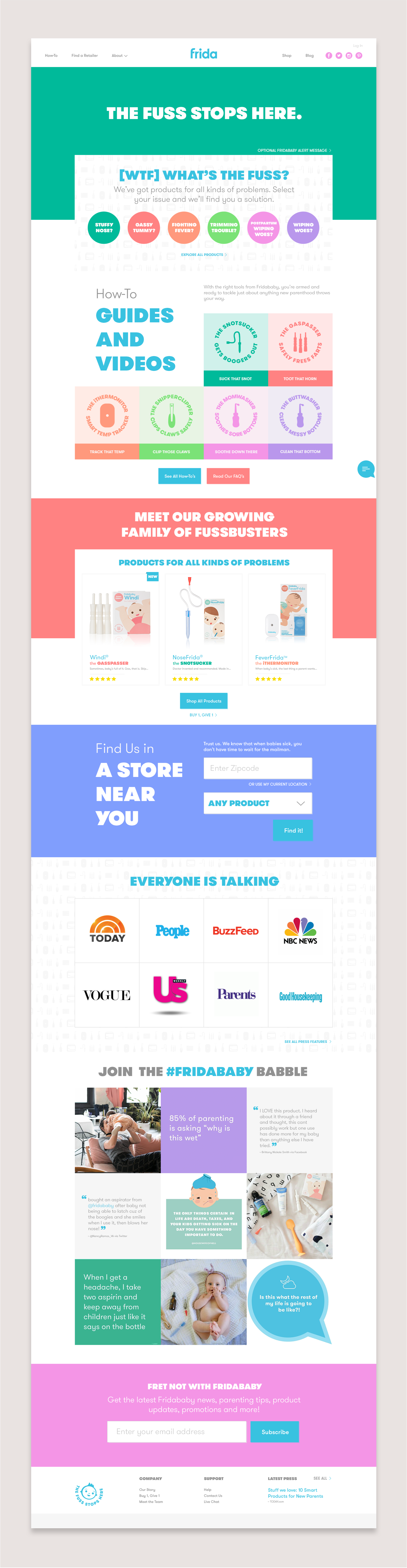 Long homepage comp of Frida.com. The fuss stops here. Each section is broken by color blocks that are bold and fun.