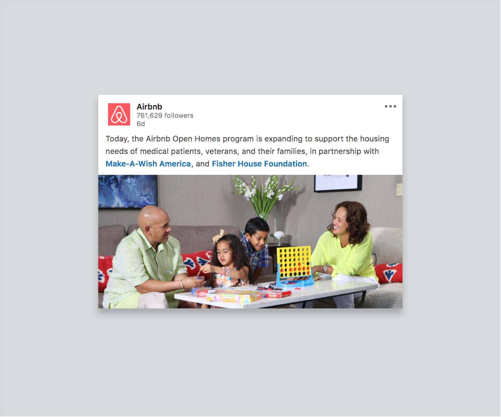 Screenshot of an AirBnb post saying they partnered with two non-profit associations.