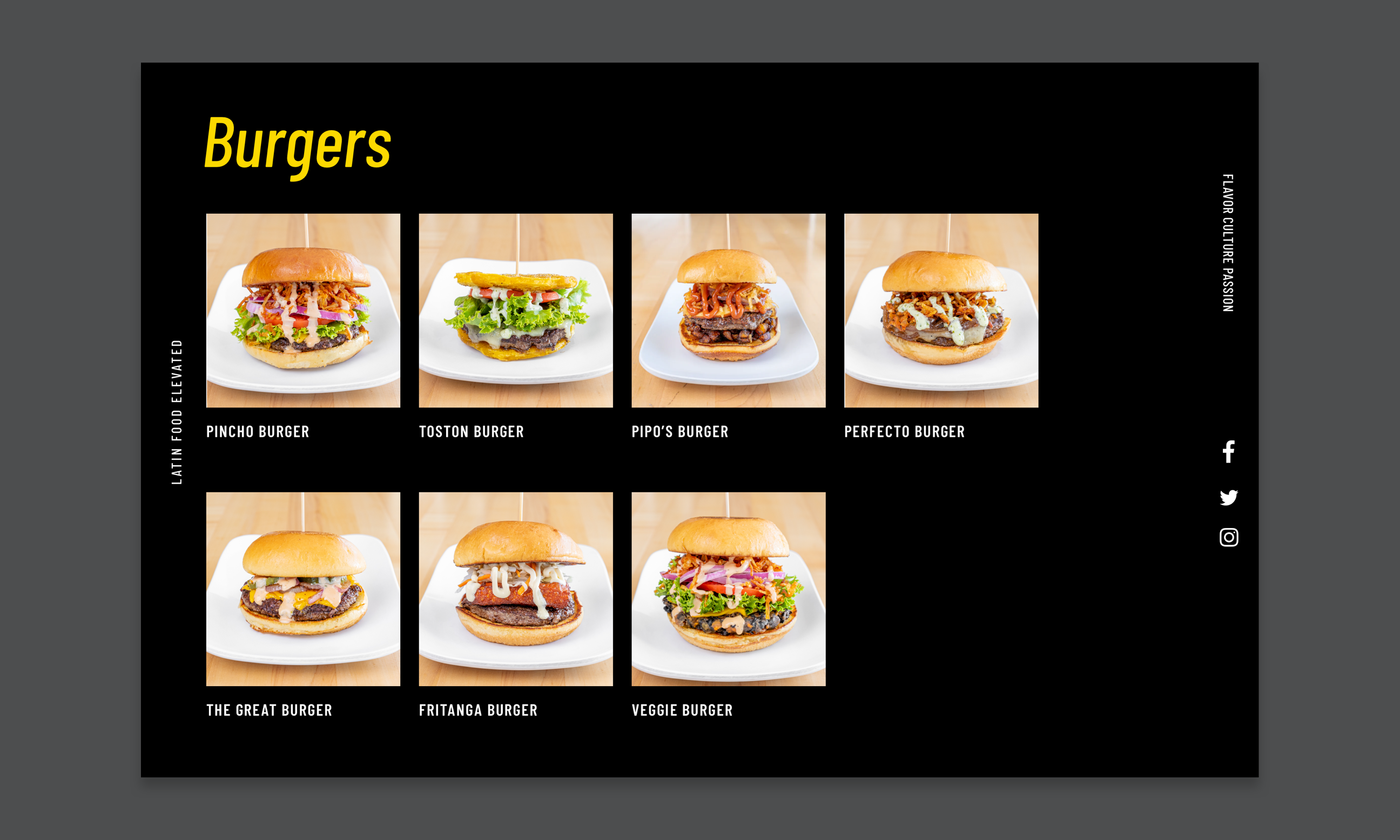 Comp of website listing of all Pincho burgers.