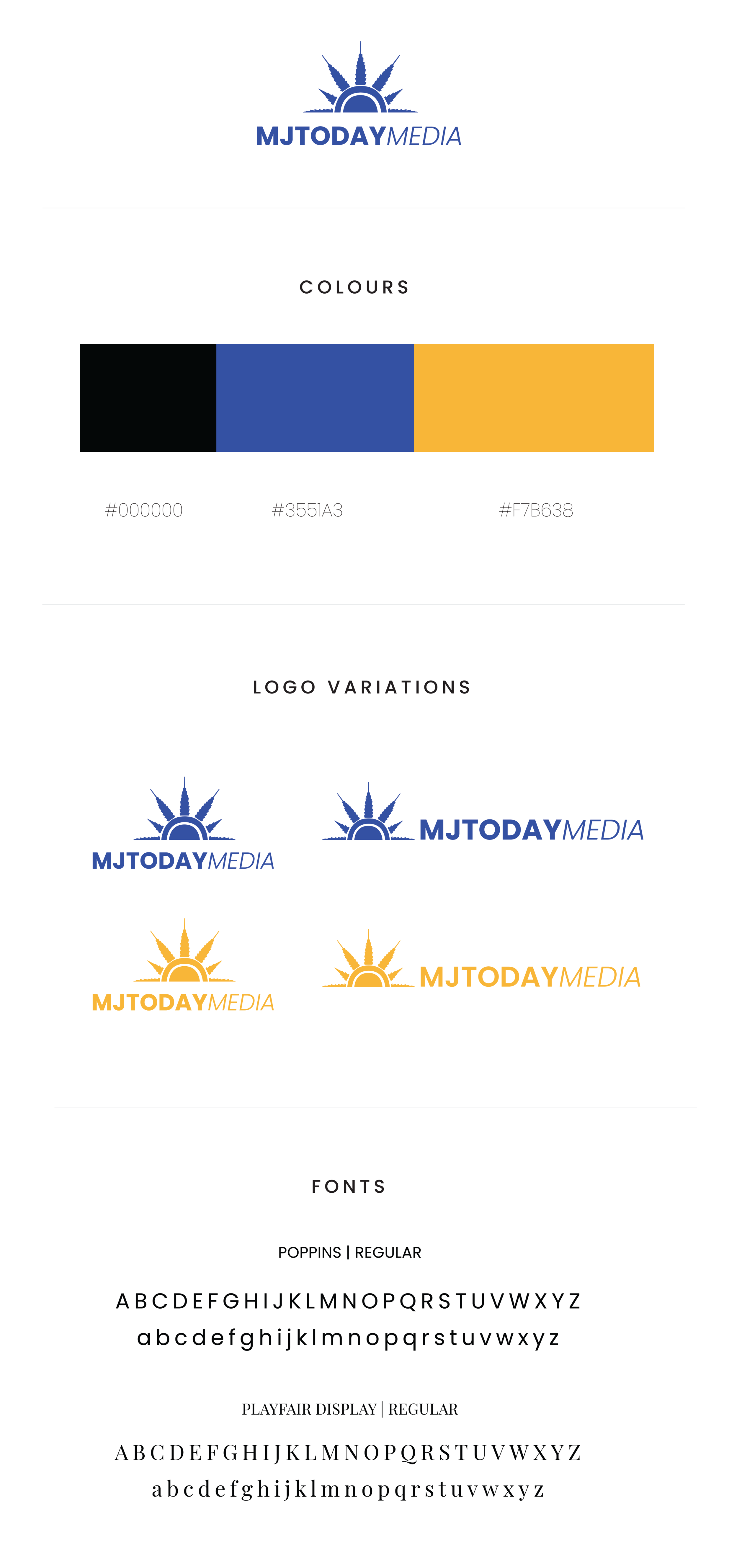 The logo design and color system created. Black, blue and yellow.