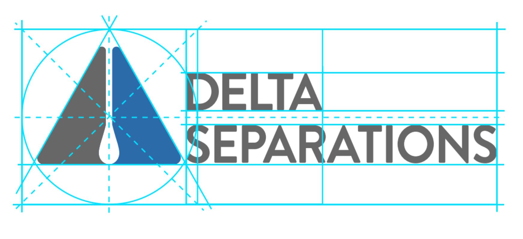 Blue delta logo showing crop and design marks
