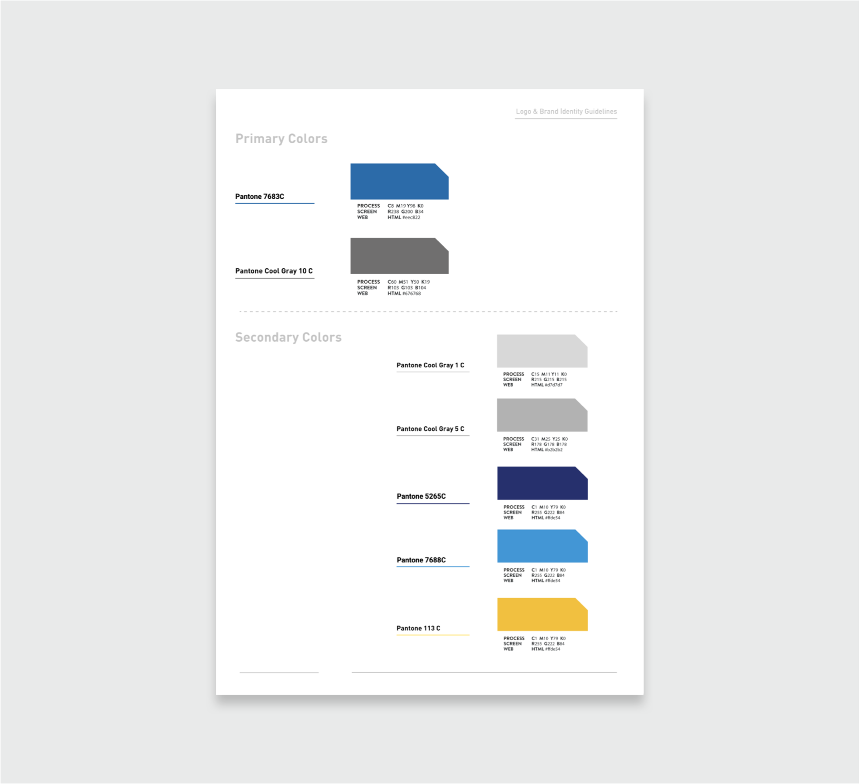 Primary color palette for delta