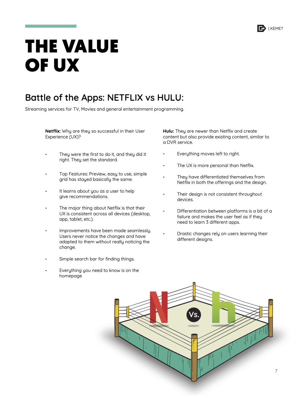 The value of UX results from a Battle of the Apps exercise we did with the team.