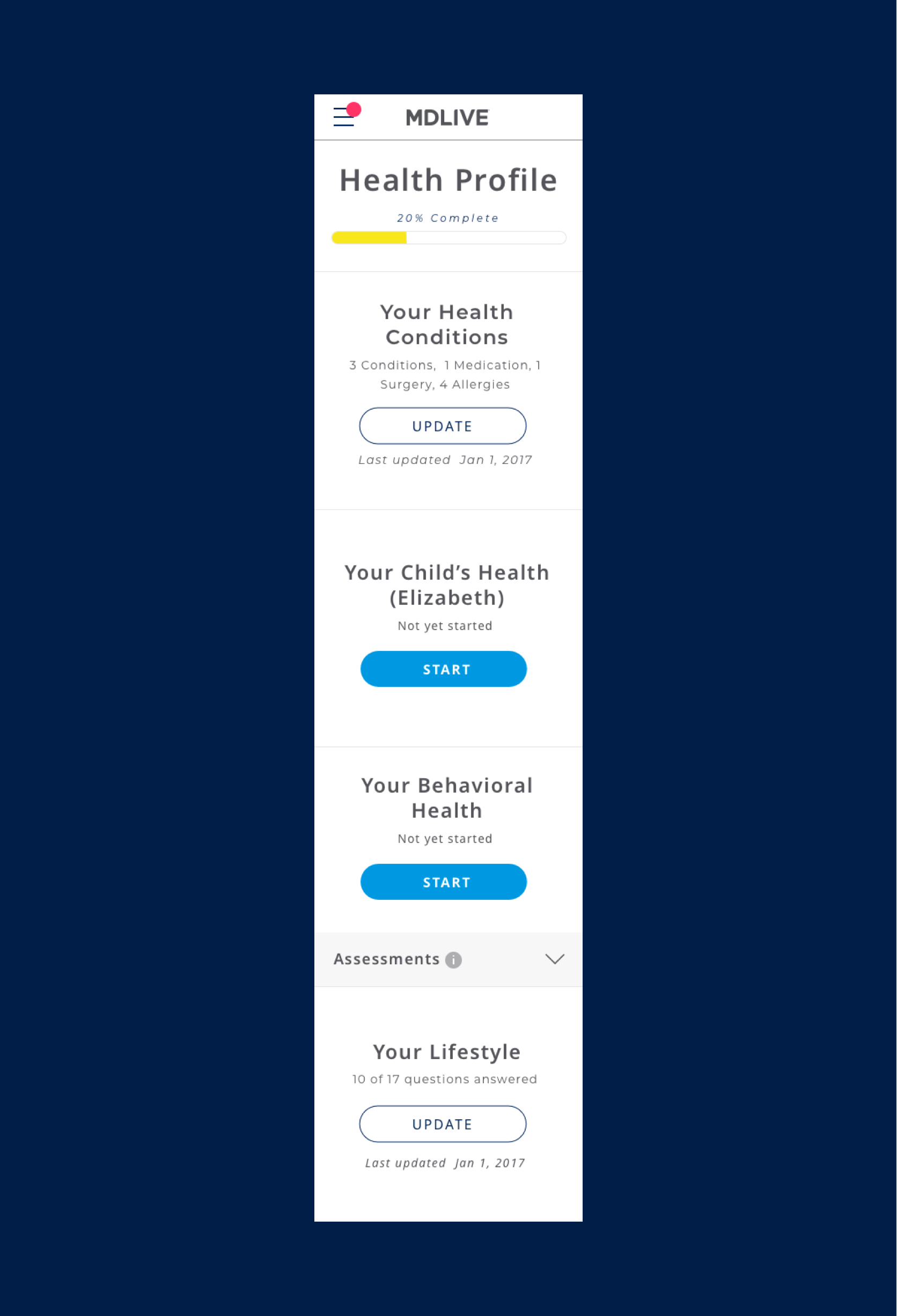 Mobile version of user profile screen for MDLIVE