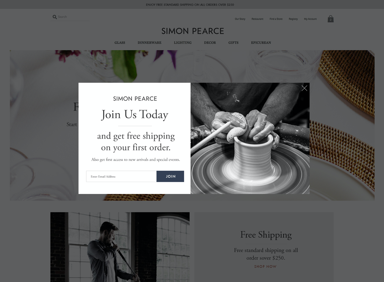 Modal for sign up
