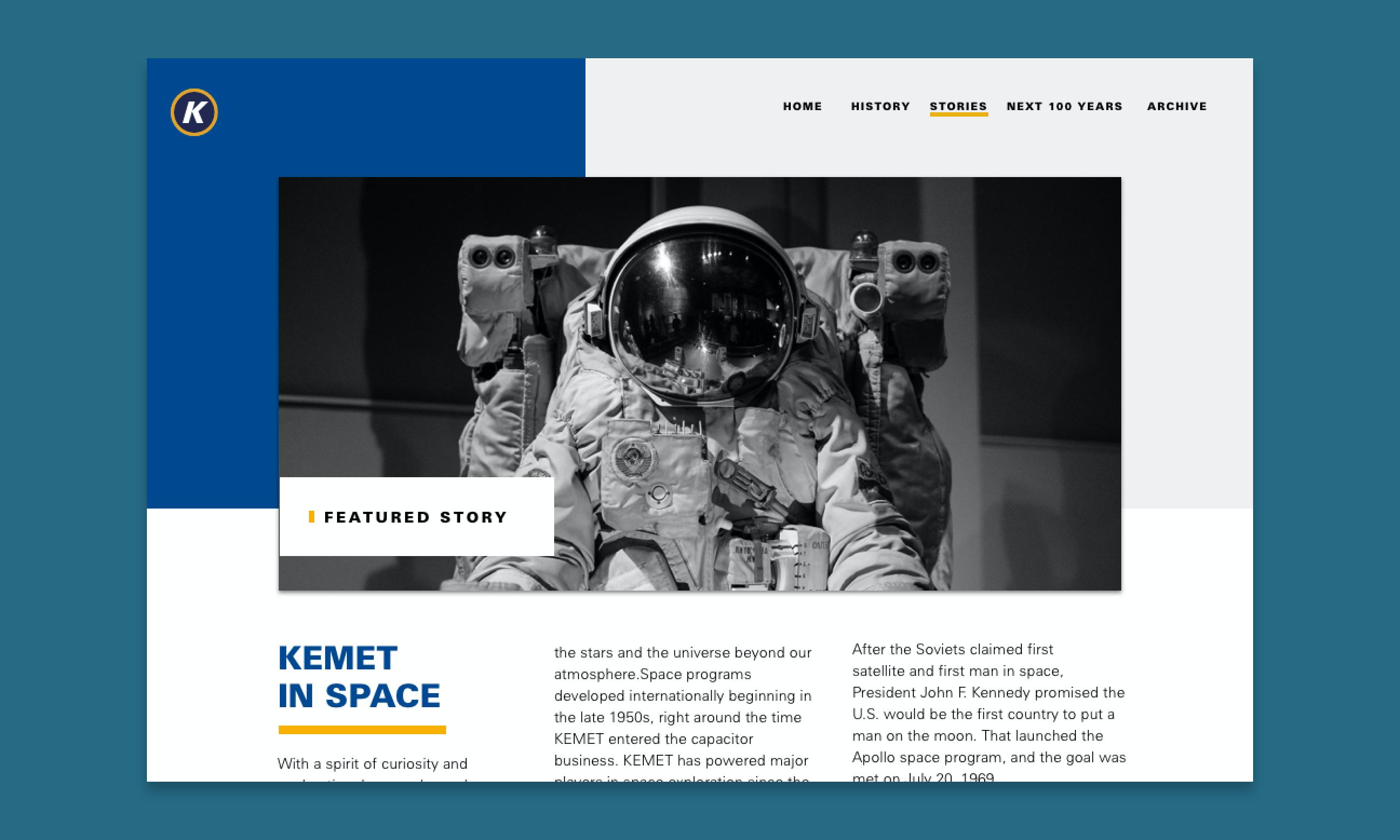 Design comp of the desktop stories section on desktop.