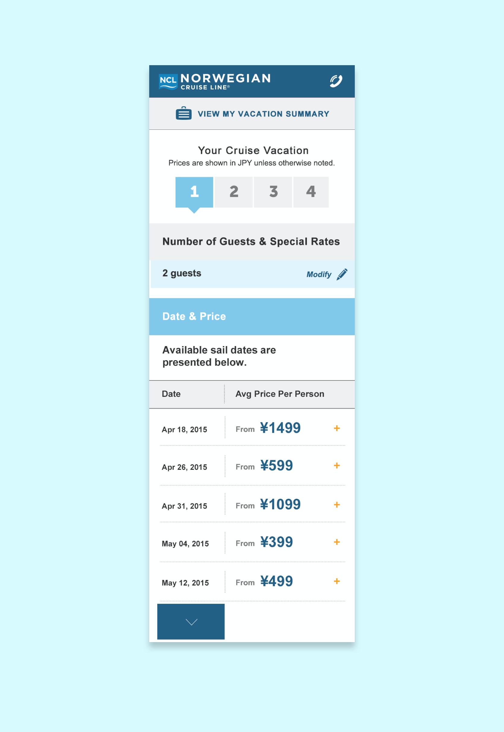 NCL.com booking step 1