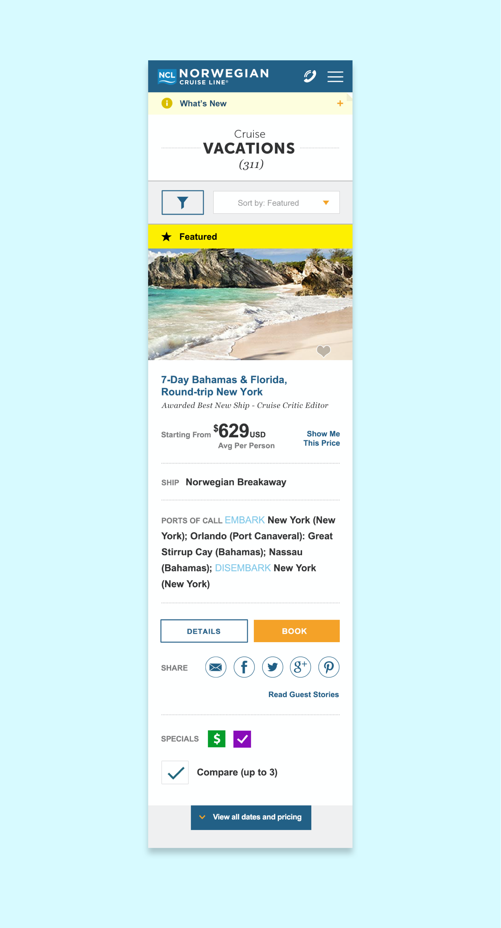 Page view of vacation search results on NCL.com