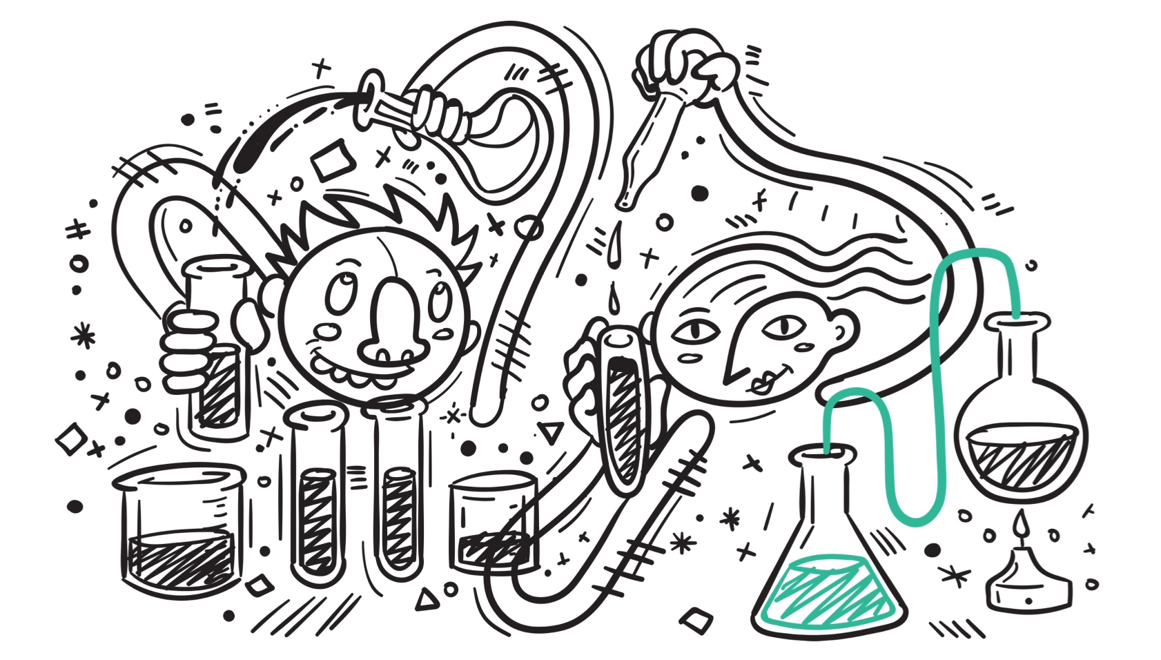 Illustration showing people measuring things in test tubes