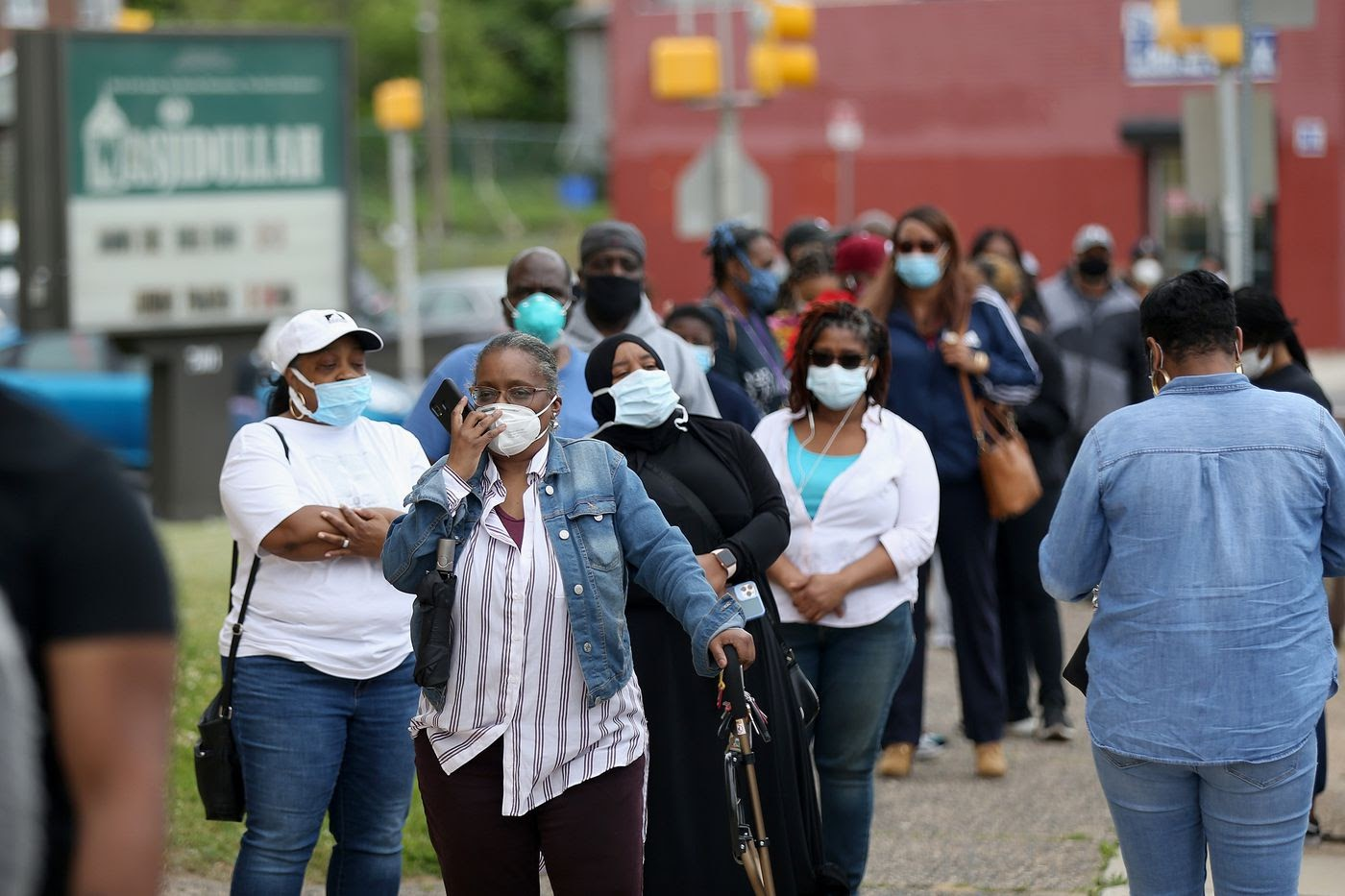 Long lines at polls during the 2020 election.