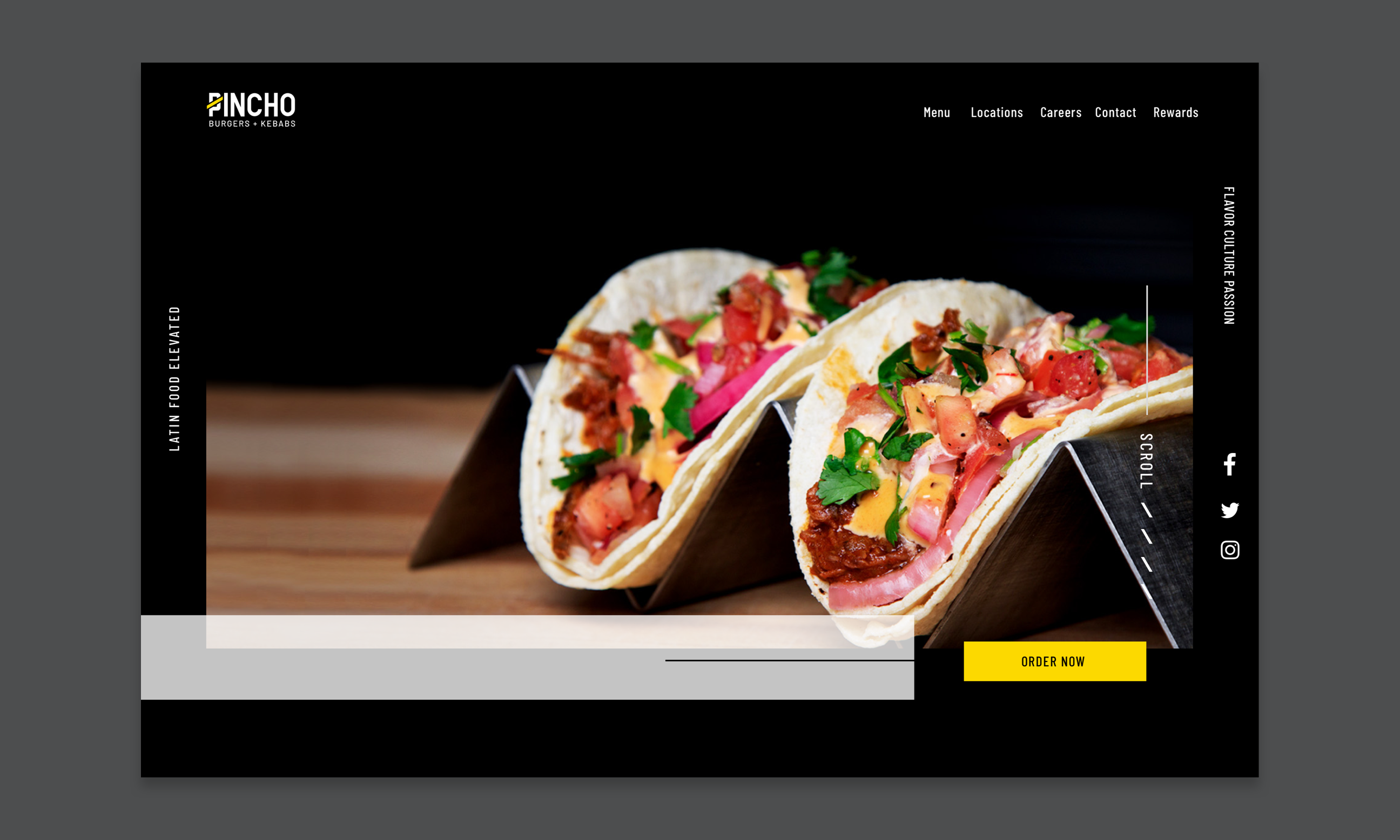 Image of the menu with picture of tacos with Order Now cta