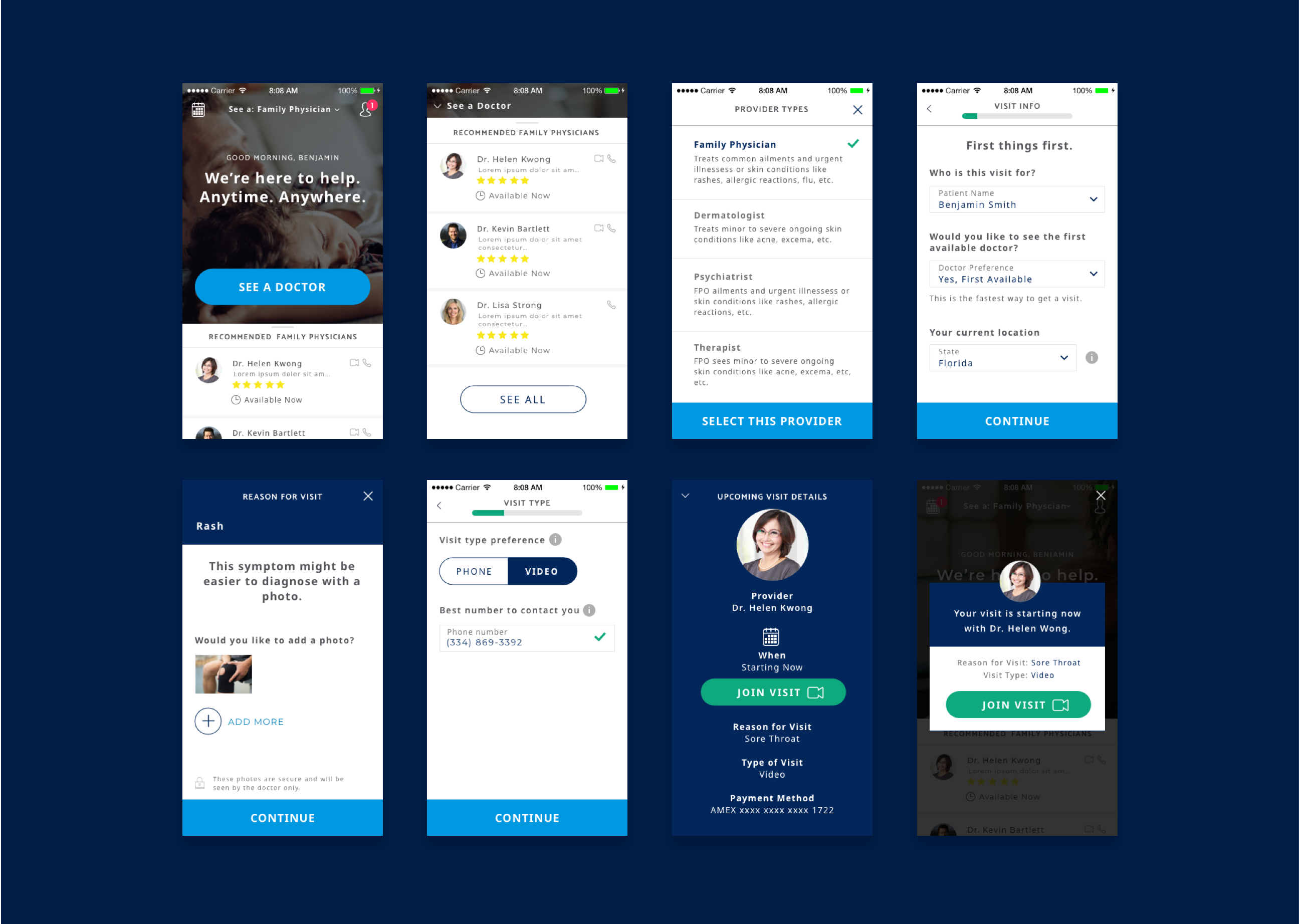 Compilation of mobile app screens showing how the design was translated for iPhone and Android.
