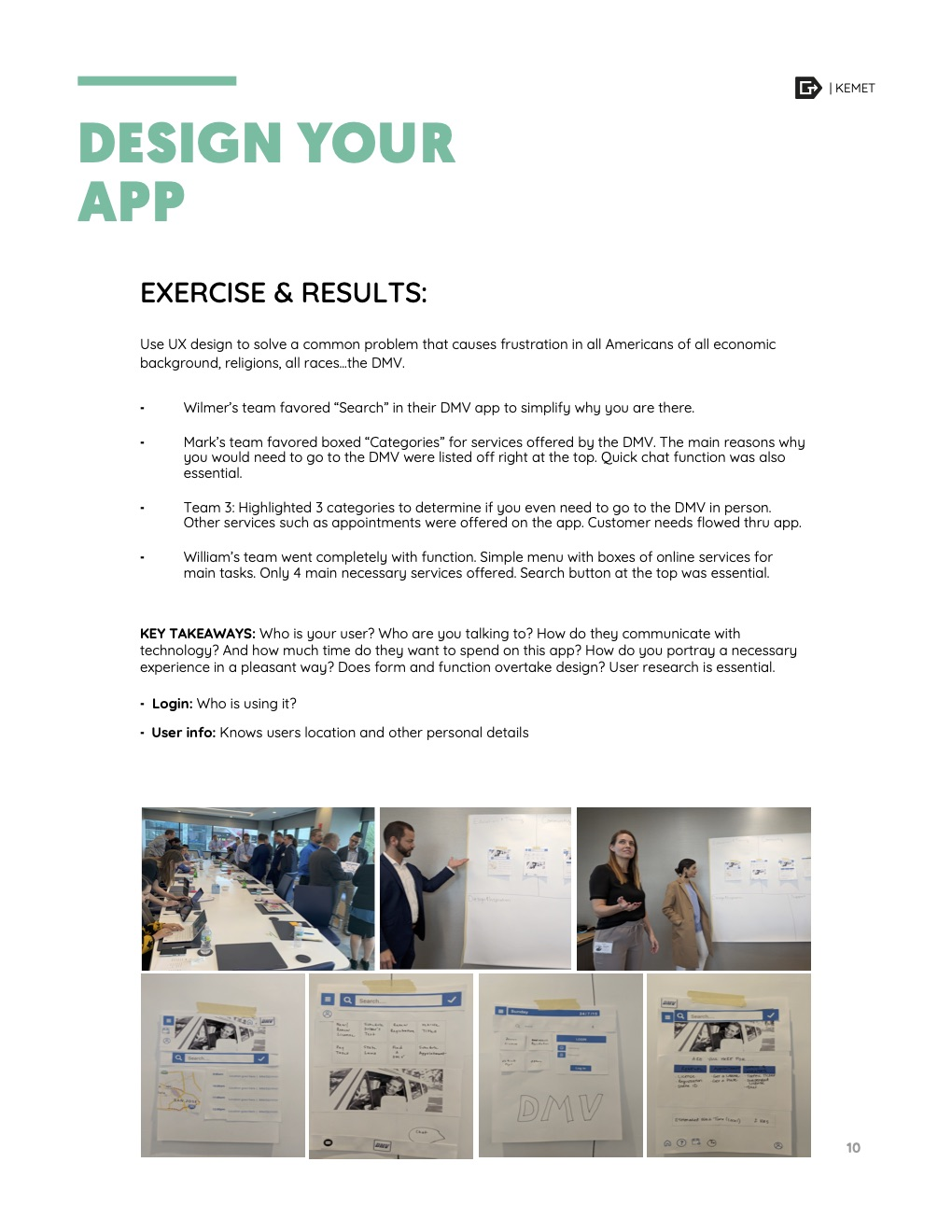 Tips on how to best design the new app with photos of the team during the exercise.