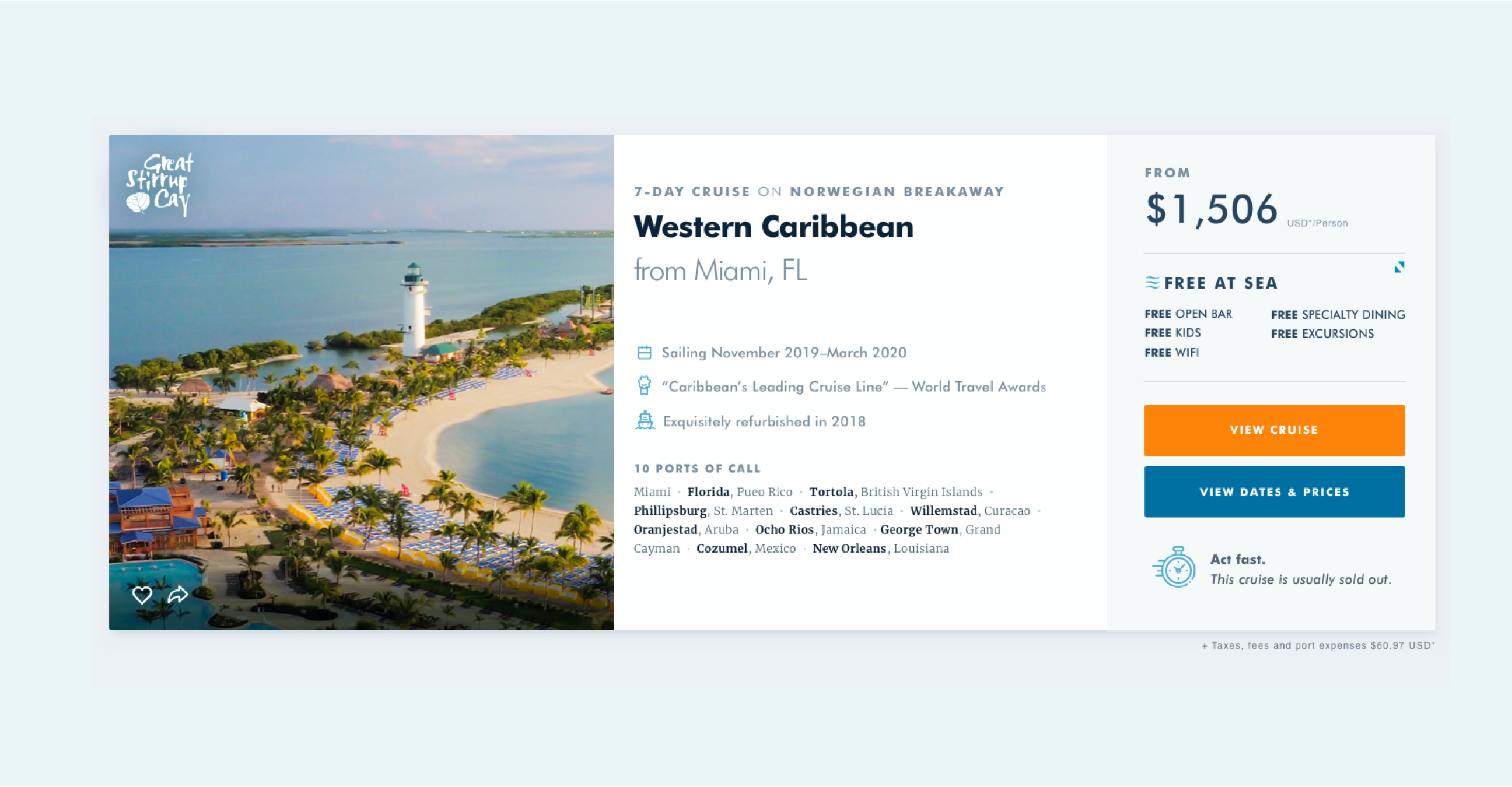Cruise card from ncl.com showing image on the left of Great Stirrup Cay and a cruise to the Western Caribbean.