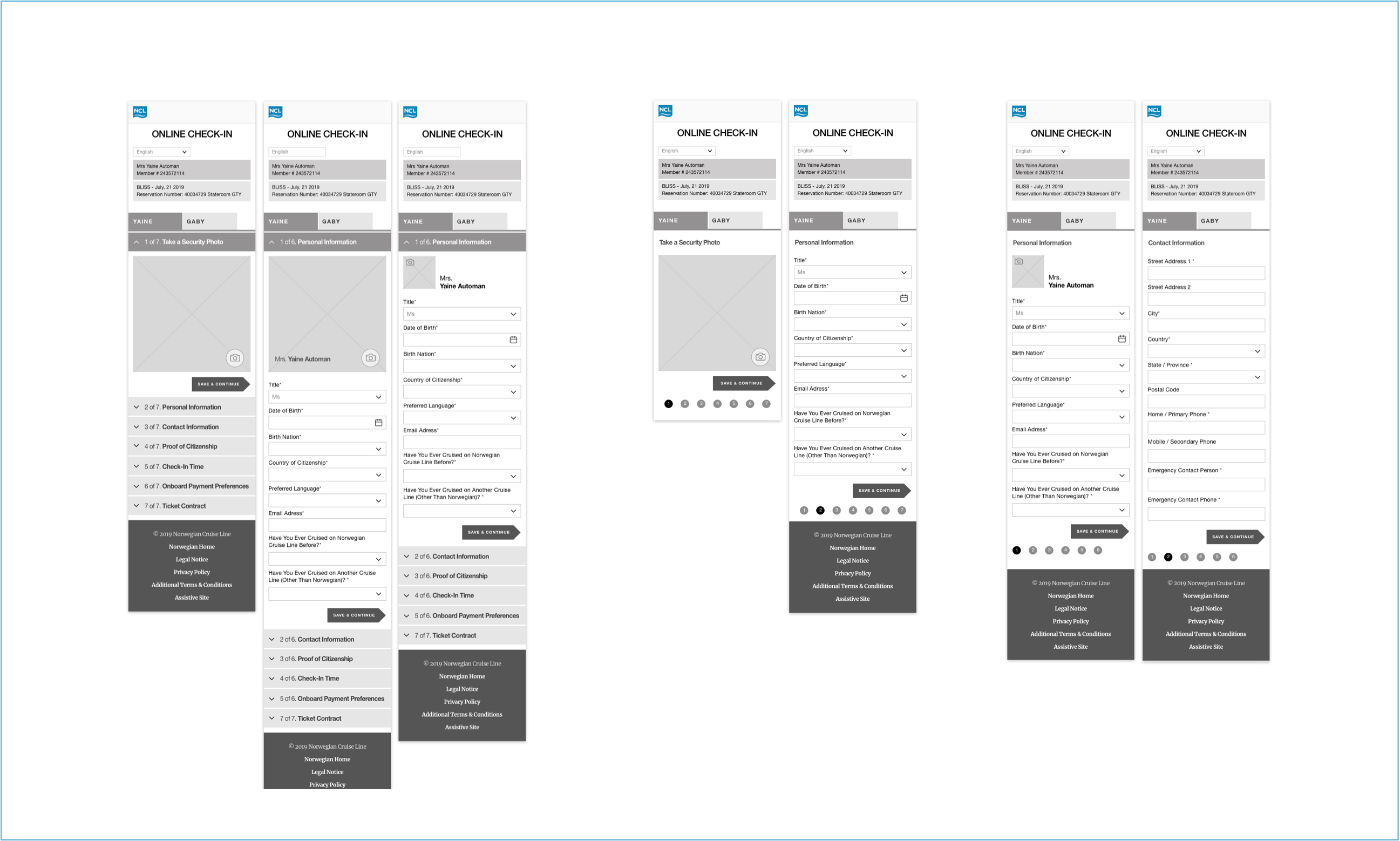 Wireframes of online check-in experience