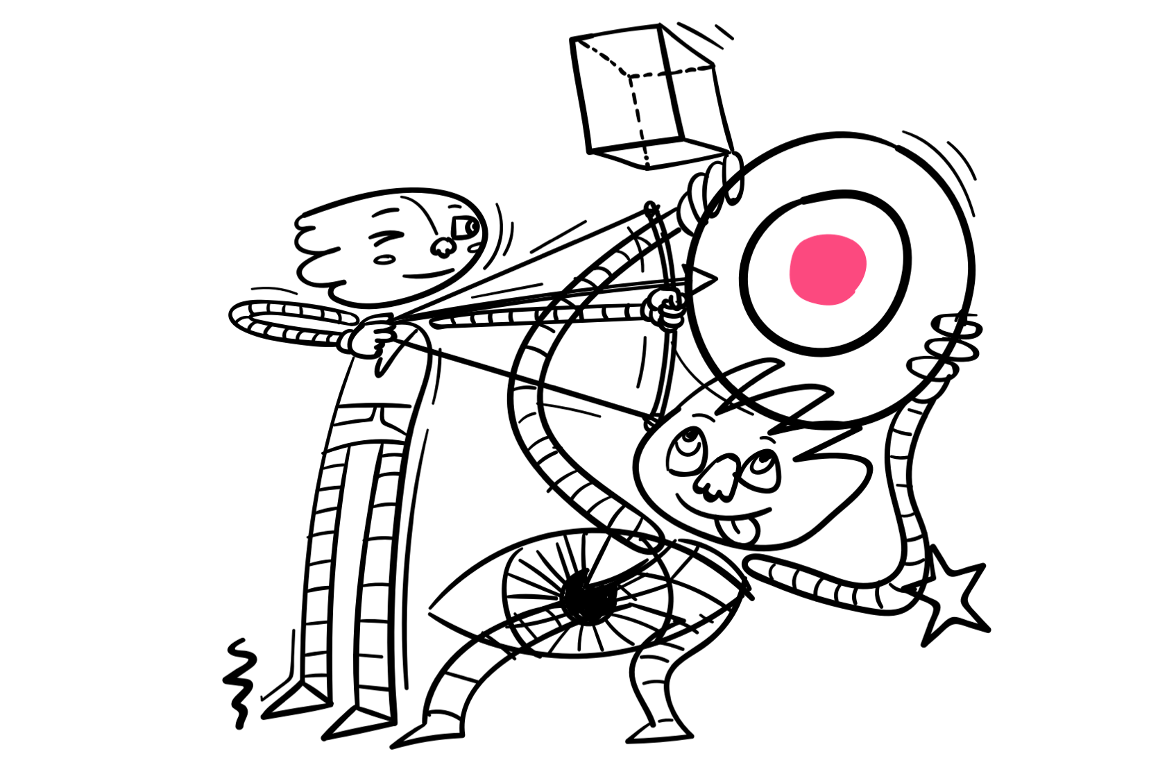 Illustration of person shooting an arrow at the target.