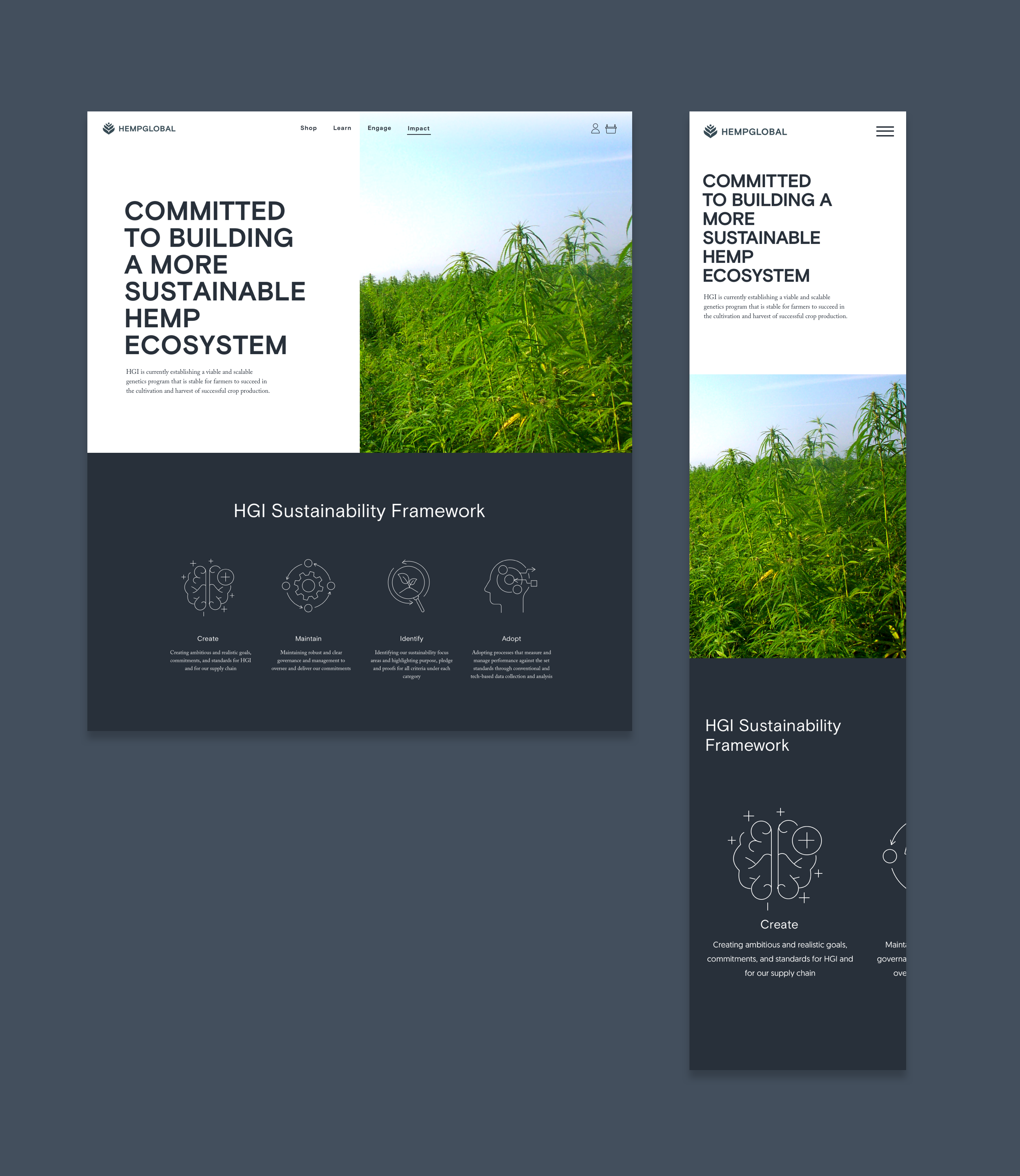 Desktop and mobile comps for Committed to Building a More Sustainable Hemp Ecosystem.