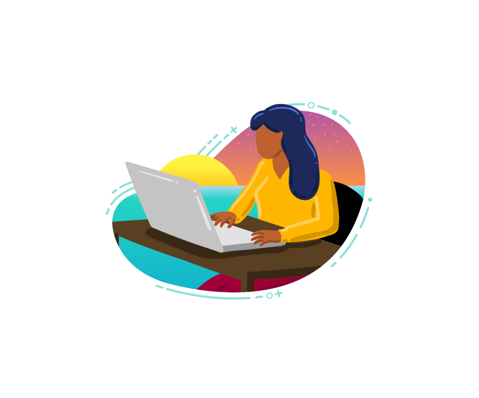 Illustration of a woman employee at the computer on her island