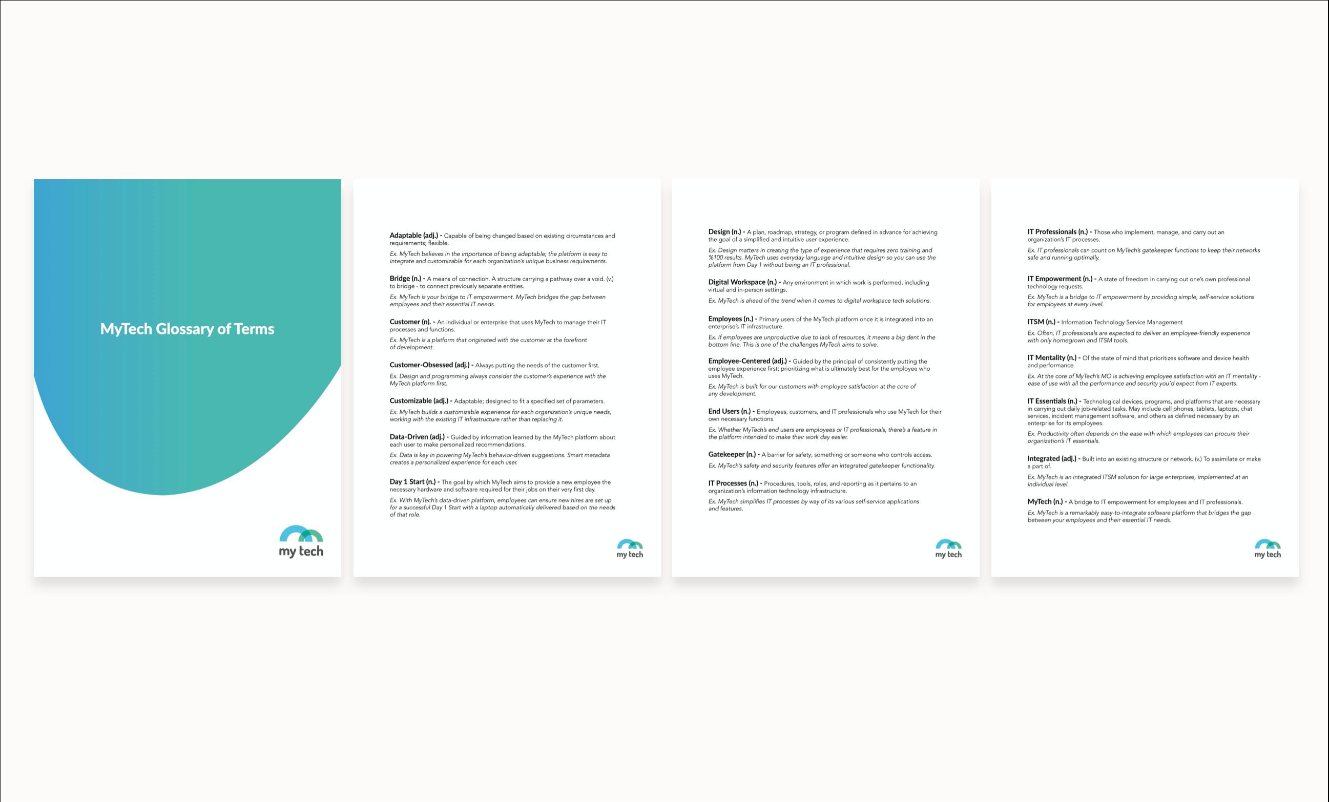 MyTech glossary - 4 page sample