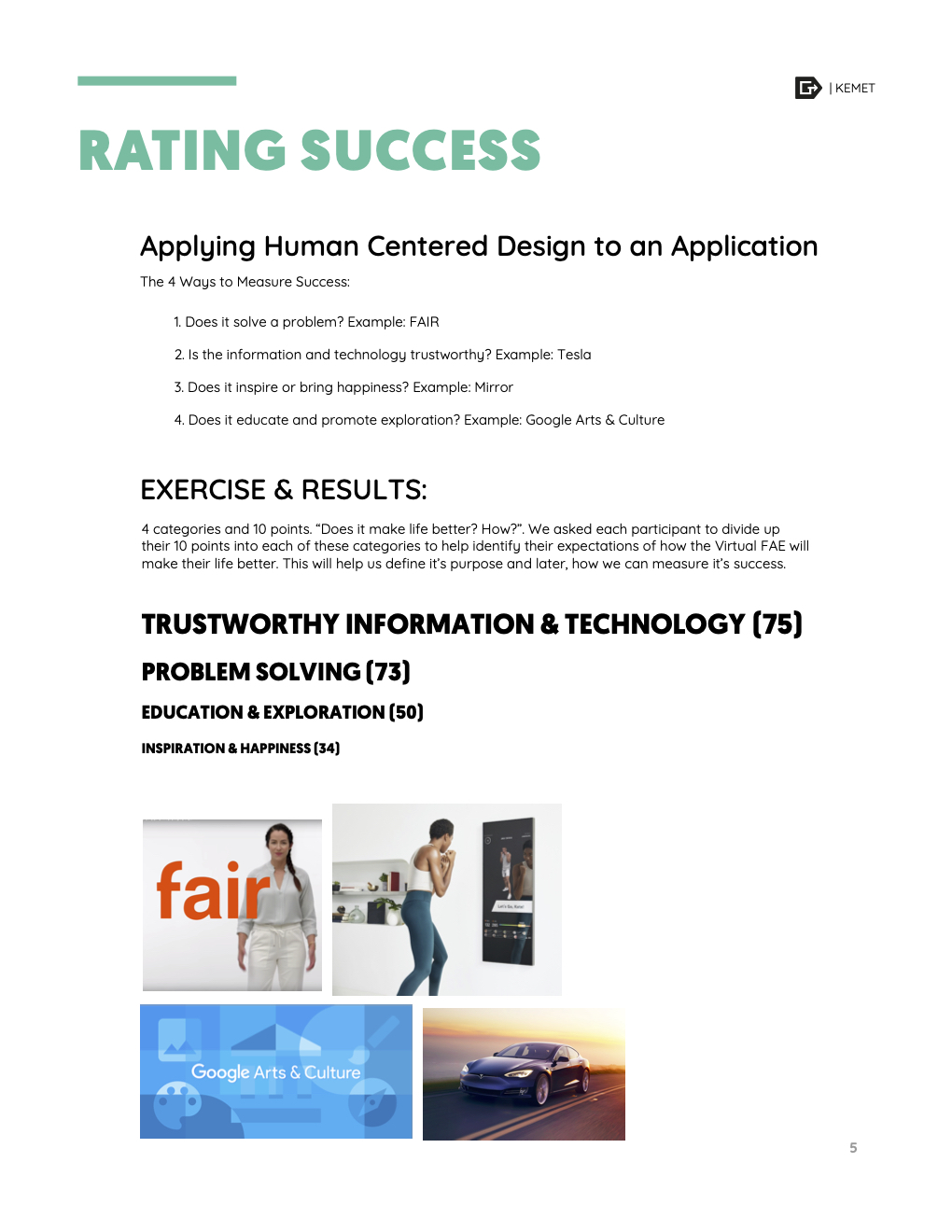 Rating success deliverable with examples.