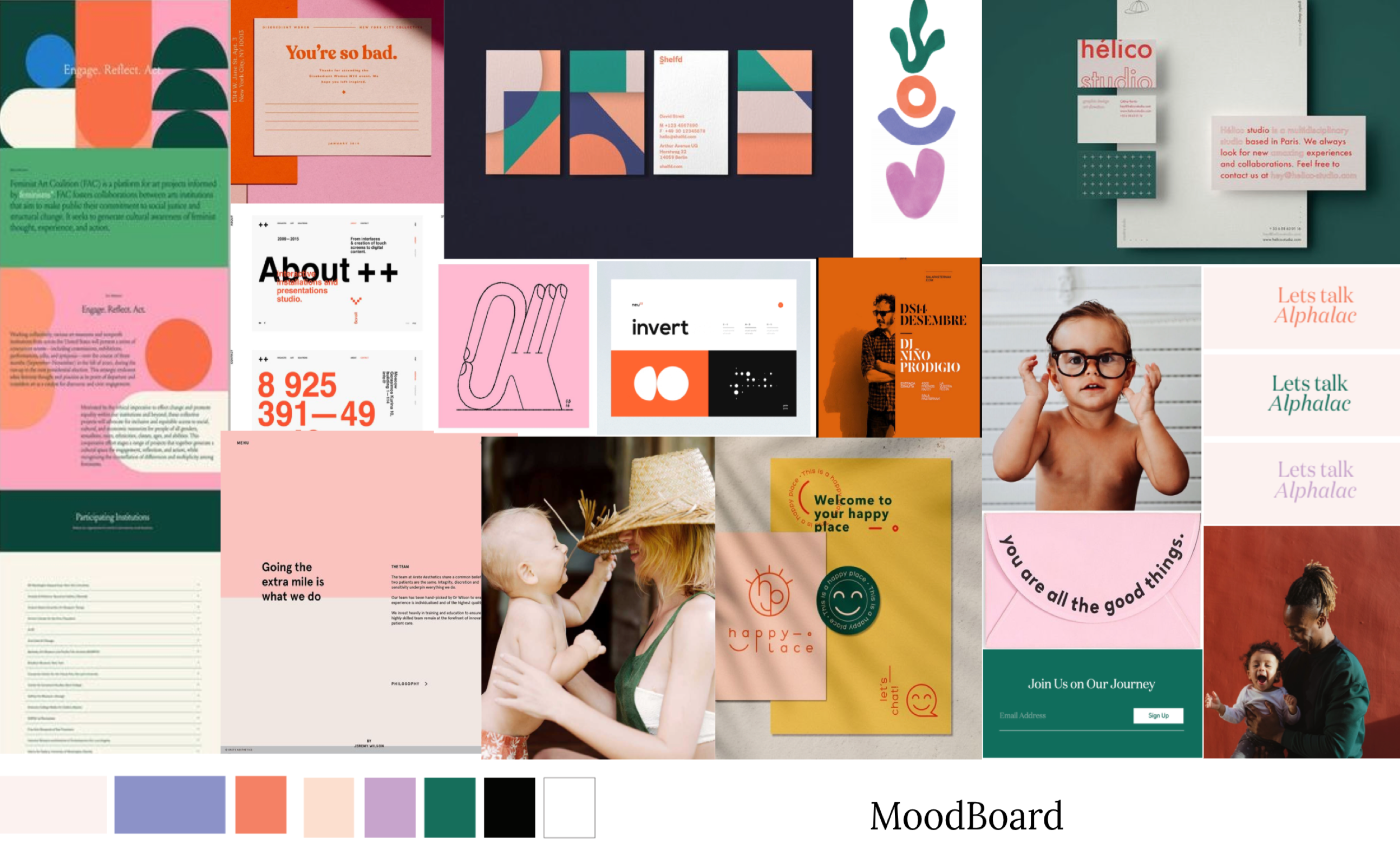 Moodboard for the ByHeart brand. Bright colors mixed with geometric shapes and lifestyle shots.