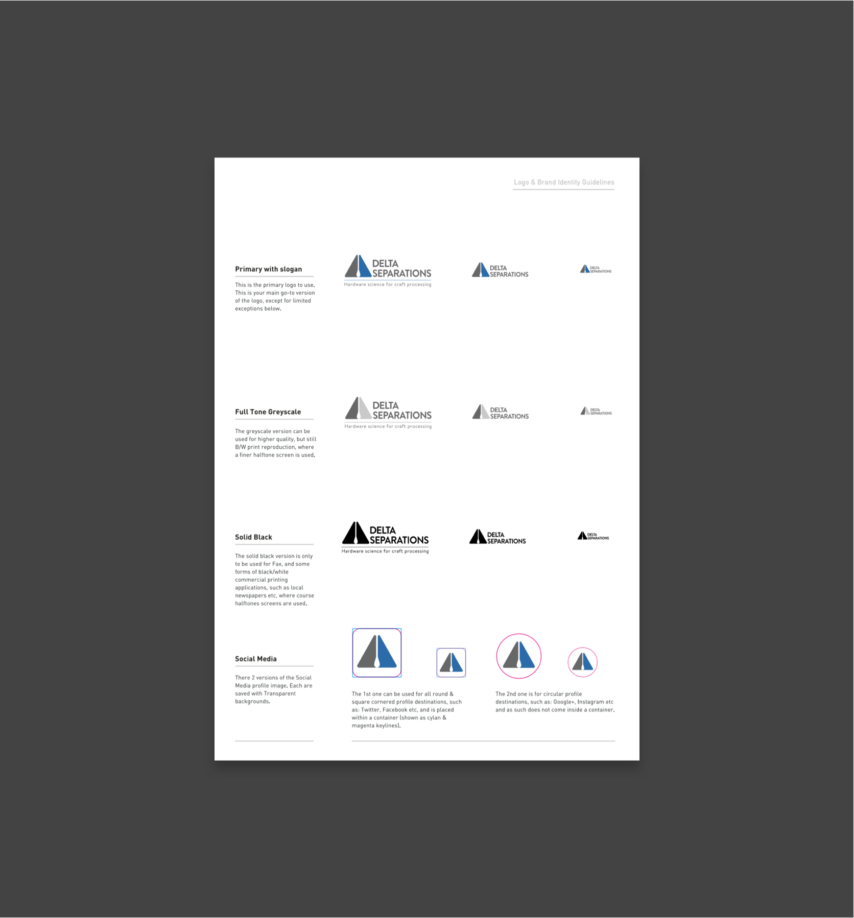 delta style guide showing usage guidelines